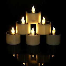 Quace Set of 6 Romantic Solar Energy LED Light Candle Lamp Nightlight for Home Decor (Warm white flash)