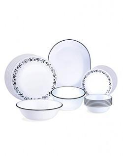 Corelle Garden Getaway Glass Dinnerware Set, 21-Pieces, Black