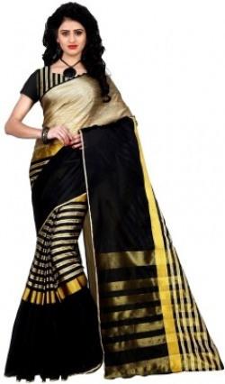 Trendz Style Striped Fashion Tussar Silk, Cotton Linen Blend Saree