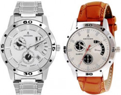 Adixion 9519SMC3SL03 New Combo Chronograph pattern Steel & Genuine Leather Youth Wrist Watch Analog Watch  - For Men
