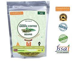 Healthfit 100% Organic Decaffeinated & Unroasted Arabica Green Coffee Beans  A  Grade - 200G