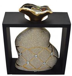 Fourwalls Ceramic Flower Vase in a Frame (16 cm x 20 cm, Gold, CV R676/1275/Gold )
