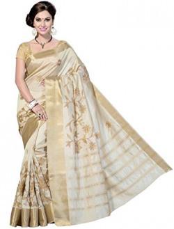 Rani Saahiba Synthetic Saree (Skr1079_Off-White)