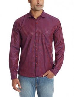 Dennison Men's Casual Shirt (SS-16-432_40_Maroon)