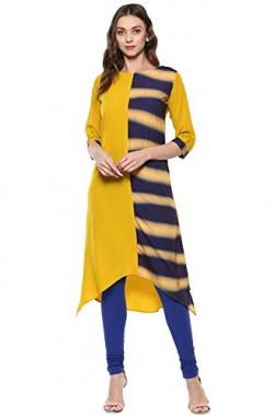 Janasya Women's Yellow Printed Crepe A-Line Kurti (JNE1952-KR-156-L)