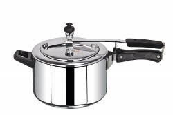 BrightFlame Stainless Steel Pressure Cooker with Inner Lid, 5 Litres, Silver