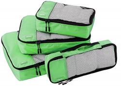 AmazonBasics Packing Cubes - Small, Medium, Large, and Slim, Green (4-Piece Set)
