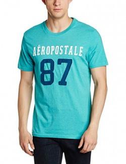 Aéropostale Men's T-Shirt (AE08417121_Medium_Winter Aqua_10009167)
