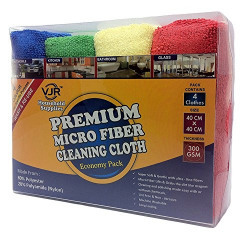 Microfiber Cleaning Clothes, 40 x 40 cm, Pack of 4, Red, Blue, Green, Yellow