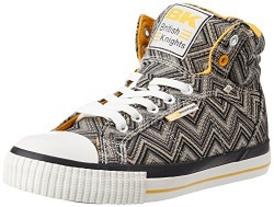 British Knights Women's Dee Silver, Black and Yellow Sneakers - 3 UK (B36-3704-15)