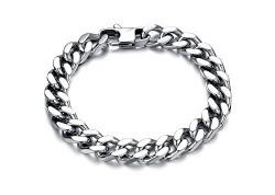 Aaishwarya 100% stainless steel Bold in Silver Chain Bracelet For Mens & Boys