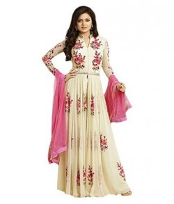 Princes Fashion® Women's Cream Georgette Embroidery semi stitched Free Size Salwar Suit Dress Material (Women's Honey Cream Indian Clothing )