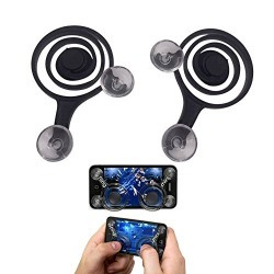Cable World Touch Screen Mobile Game Joystick Game Controller (2 Pcs) (Black)