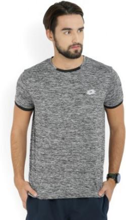 Lotto Solid Men's Round Neck Black, Grey T-Shirt