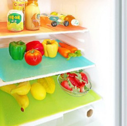 Kuber IndustriesTM Refrigerator Drawer Mat / Fridge Mat Set of 6 Pcs (13*19 Inches) Multi Color (Material- Plastic)