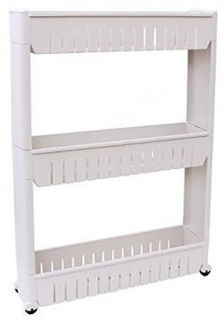 Okayji Plastic Bathroom Storage Rack Shelf, 3 Tires, White