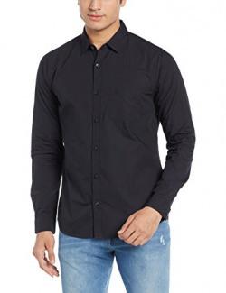 United Colors of Benetton Men's Regular Fit Cotton Casual Shirt (17P5EV55QV48I_Black_M)