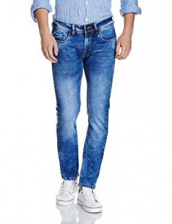 Peter England Men's Skinny Fit Jeans (8907495817972_JDN31704423_32W X 33L_Dark Blue with Blue)