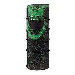 Autofy Unisex Skull Print Lycra Headwrap Bandana for Bikes (Black and Green, Freesize)