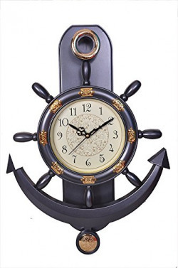 WebelKart Plastic Pendulum Wall Clock (32 cm x 32 cm x 5 cm, Blue)