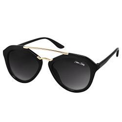 Silver Kartz Oval look Scada Golden-Bar Black Gradient Sunglasses (wc059)