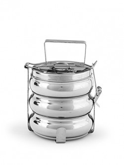 King International Stainless Steel Lunch Box,Belly lunch box,Tiffin Box 20 cm (3 Tier ) – Extra Large Size, Compact Tiffin Design, Kid and Adult Friendly