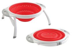 Dexas 10-Inch Silicone Pop Colander, Red/White
