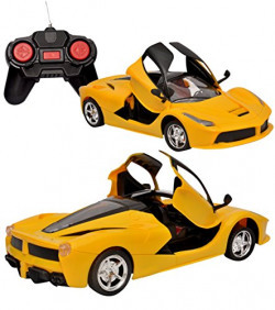 Toyshine Remote Control Car with Opening Doors Rechargeable Ferrari Design (Yellow)
