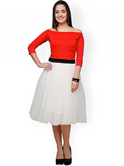 Marvadi Collection Women's Red and White Frock style dress