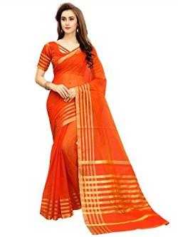 Glory Sarees Women's Cotton Silk Saree(jari123orange_orange)