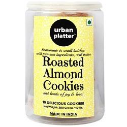 Urban Platter Roasted Almond Cookies, 10 Cookies, 280 Grams Jar [All Natural, Hand-made, Gourmet Cookies]