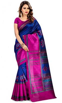 Miraan Women's Kora Silk Saree With Blouse Piece (Pc5528_Blue)