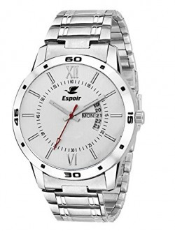 Espoir Exclusive Day & Date Display Analog White Dial Stainless Steel Men's Watch - WDD0507