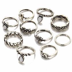 Shining Diva Fashion Antique Silver Set of 10 Midi Finger Rings for Girls