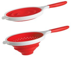 Dexas Collapsible 8  Silicone POP Strainer Red