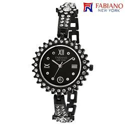Fabiano New York Black Studded Analog Wrist Watch for Women & Girls