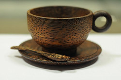 ADA Handmade 260ml Wooden Coffee Cups With Handgrip Tableware Coffee Dining Cups - Eco-friendly 1pc