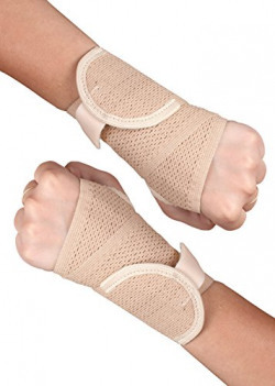 Healthgenie Wrist Brace with Thumb Support One Size Fits Most (1 Pair - Beige), Elastic & Breathable Fabric - Adjustable Compression Wrist Support for Wrist Pain & Sports Injuries