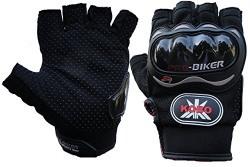 Probiker Leather Motorcycle Riding Half Finger Gloves (Black, XL)