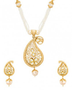 Voylla Paisley Necklace Set with Pearl Embellishments