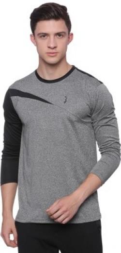 Campus Sutra Solid Men Round Neck Black, Grey T-Shirt