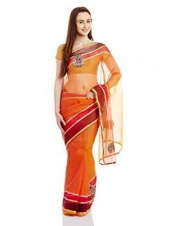 Florence Saree with Blouse Piece (FL-2107_Orange_Free Size)