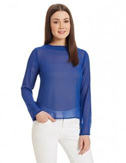 Van Heusen Women's Body Blouse Shirt (VWTS516F12585_Medium Blue Solid_S)