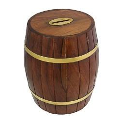 Parijat Handicraft Safe Money Box Savings Banks Wood Carving Handmade By Artisan
