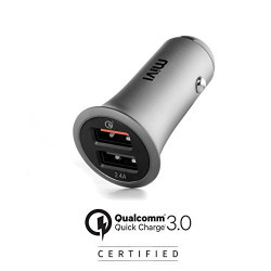 Mivi Quick Charge 3.0 Qualcomm Certified Dual Port Metallic Car Charger
