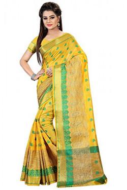 Royal Export Women's Cotton Silk Saree (Yellow)
