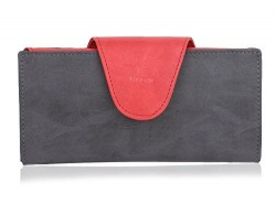 K London Women's Wallet Red & Grey-1513_greyred