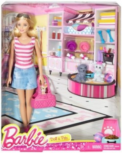 Mattel Barbie Doll and Pets w 2 Puppies Puppy Carry Purse & Accessories Mattel