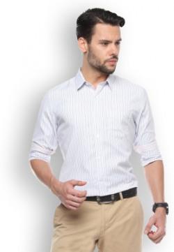 Brooklyn Blues Men's Striped Casual White Shirt