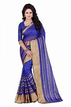 Vatsla Enterprise Women's Cotton Saree With Free Blouse Piece (VSCDNPYSHBLUE001)